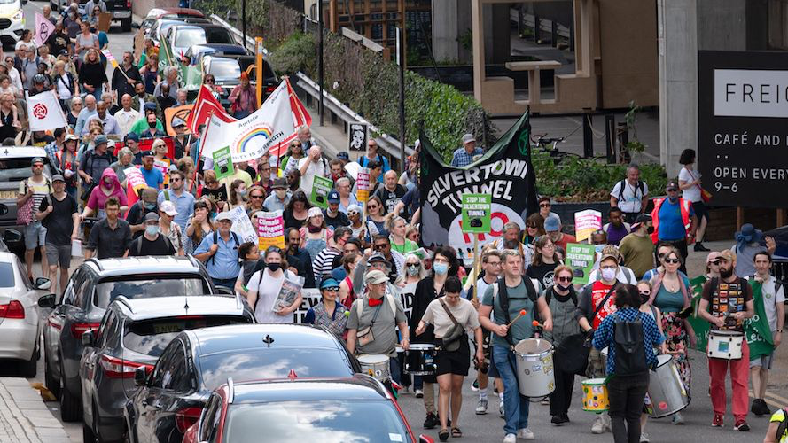 Stop the Silvertown Tunnel march from June 2021.